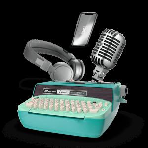Un montage qui présente une machine à écrire, un téléphone, un micro et un casque pour évoquer le multimédia