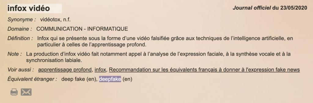capture d'écran de la définition de vidéotox ou infox vidéo sur le site France Terme