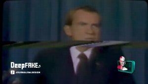 Nixon au moment de son supposé discours annonçant la mort des astronautes d'Apollo 11