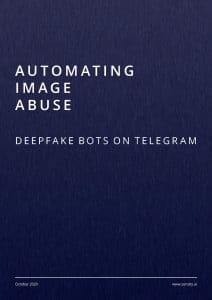 La couverture du rapport Automating image abuse par Sensity.ai