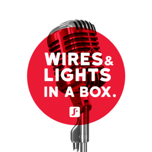logo du posdcast wires and lights in a box