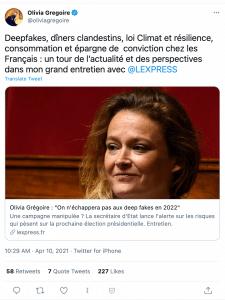 Le tweet d'Olivia Grégoire faisant la promotion de son interview dans l'express