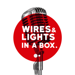 logo wires and lights in a box